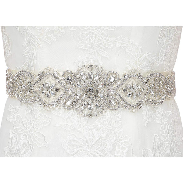HDE Rhinestone Wedding Bridal Belts and Sashes with Ribbon for Bridal Gown Dress