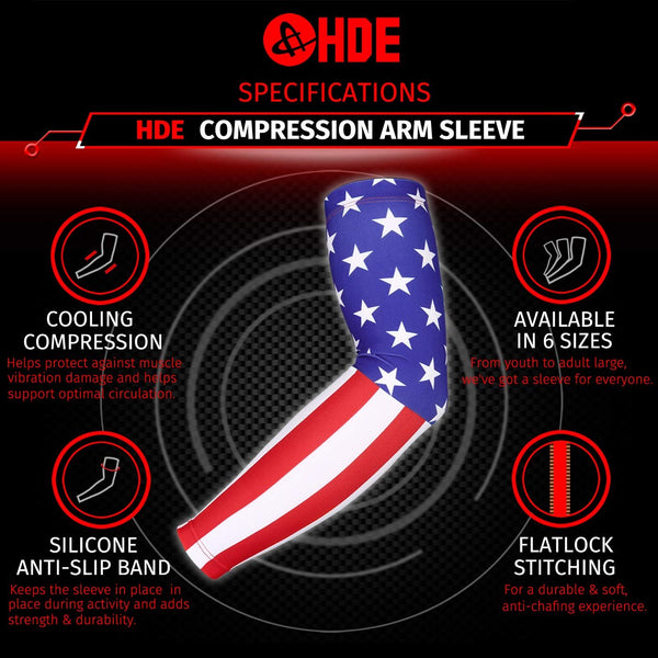 HDE Arm Sleeves for Men Women, Compression Sleeve Arm UV Protection Basketball Baseball Football