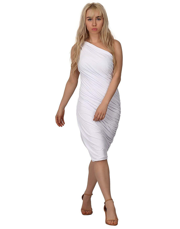 HDE Women's One Shoulder Midi Cocktail Dress