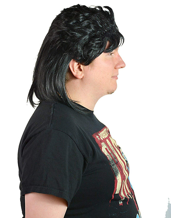 HDE Men's Black Waynes Mullet Wig Adult 80s Hockey Hair Halloween Costume