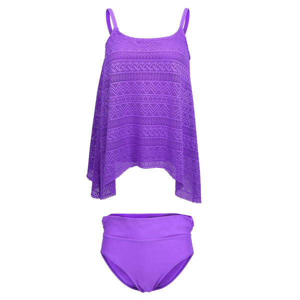 HDE Women's Lace Tankini Set Solid Color 2 Piece Bikini Swimsuit w/Briefs M-XXL