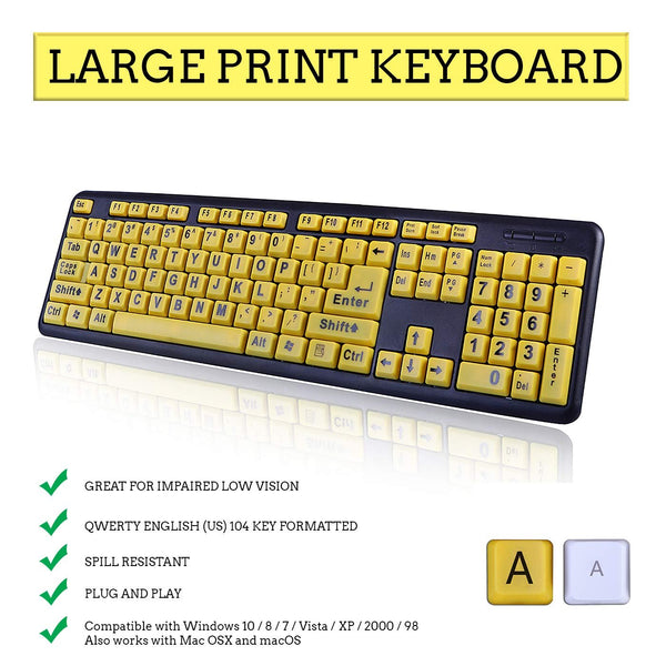 HDE Large Print Computer Keyboard Wired USB High Contrast Yellow with Black Oversized Letters for Visually Impaired Low Vision Individuals