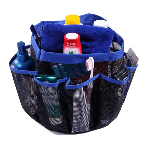 HDE Shower Caddy Mesh Bag College Dorm Bathroom Carry Tote Hanging Organizer (Blue)