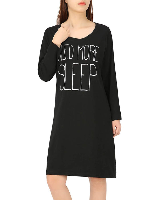 HDE Nightgowns for Women, Long Sleeve Night Gown Cotton Sleep Shirts Night Dress