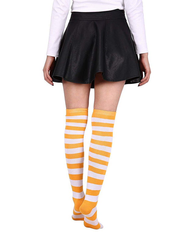 HDE Womens College Color Striped Socks Extra Long OTK University Team Spirit Fan