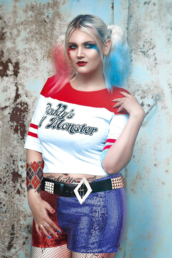 HDE Women's Plus Size Red Blue Sequin Shorts for Harley Misfit Halloween Costume