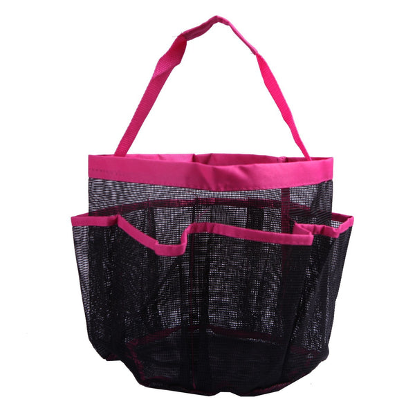 HDE Shower Caddy Mesh Bag College Dorm Bathroom Carry Tote Hanging Organizer (Pink)