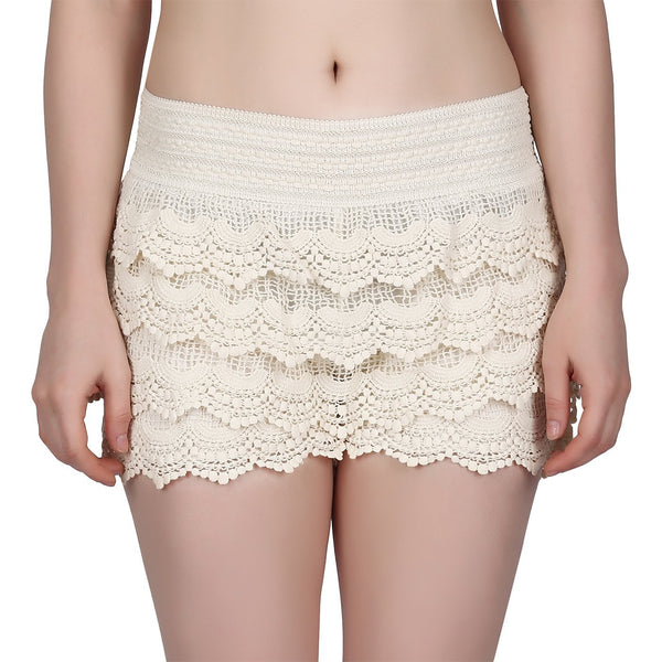 HDE Women's Lace Shorts Fitted Scallop Hem Crochet Mini Hot Pants