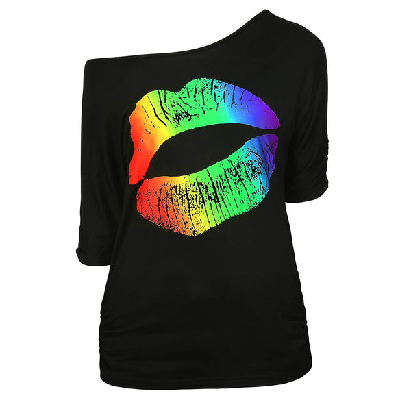 HDE Retro Off Shoulder Tops for Women Rainbow Lips T-Shirt 80s Workout Costume Top