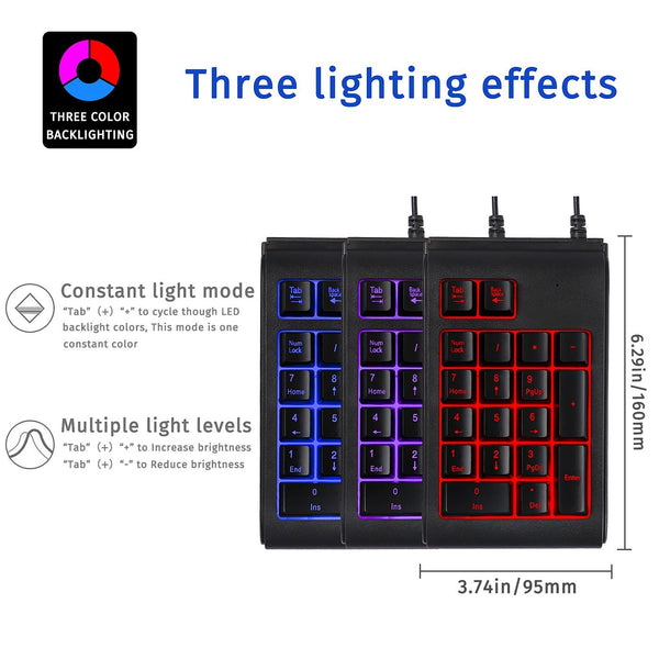 HDE USB Numeric Keypad Wired 18 Key Number Pad with Color Change Backlit Keys Portable Numpad for Windows / Mac / Linux / Chromebook Computers