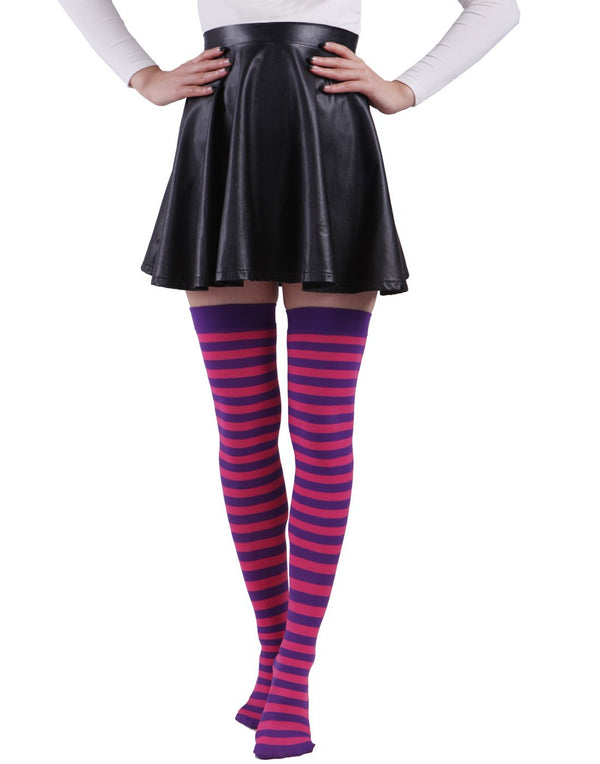 HDE Women's Plus Size Striped Stockings Thigh High Over the Knee OTK Sheer Nylons (Pink White Stripes)