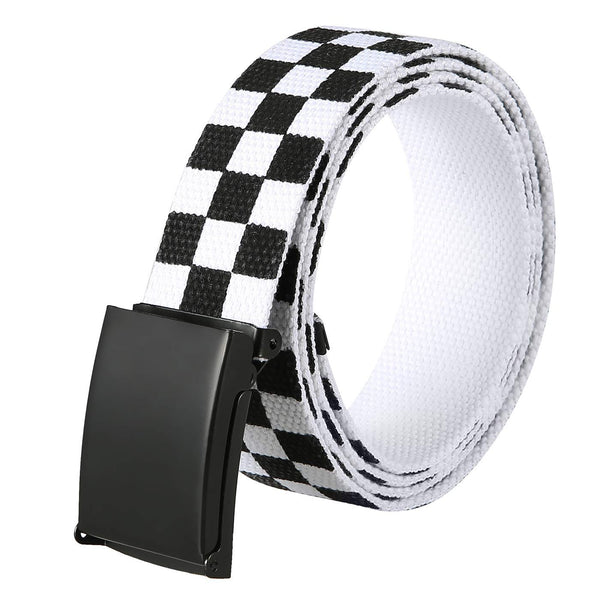 HDE Checkered Belt for Boys Men Black Flip Top Buckle Military Canvas Web Belts