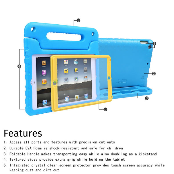 HDE Case for iPad 9.7-inch 2018 / 2017 Kids Shockproof Bumper Hard Cover Handle Stand with Built in Screen Protector for New Apple Education iPad 9.7 Inch (6th Gen) / 5th Generation iPad 9.7 - Green