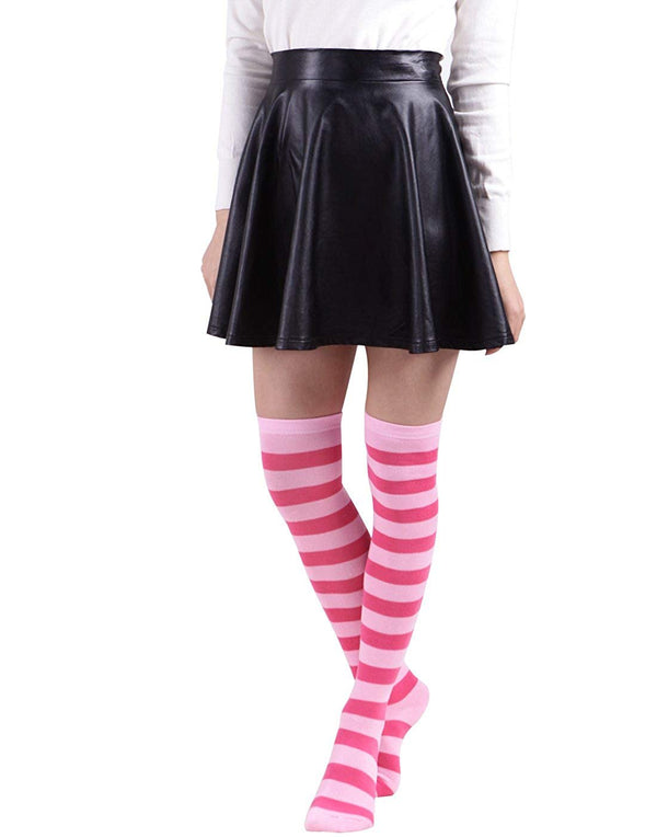 HDE Women's Extra Long Striped Socks Over Knee High Opaque Stockings
