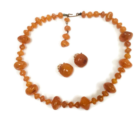 Vintage Amber Necklace & Earring Set