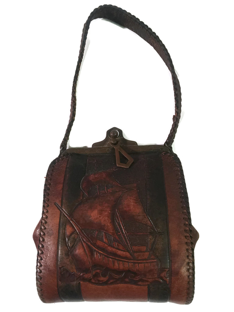 Antique Leather Tooled Purse