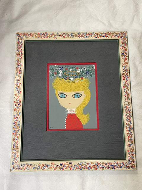 "1960's ""Jane"" Big Eyed Original Framed Painting"