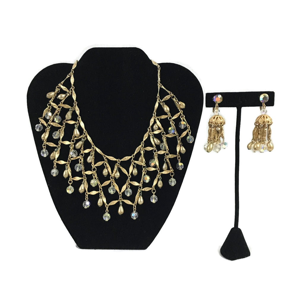 Vintage Goldtone Rhinestone Costume Runway Necklace & Earrings Set