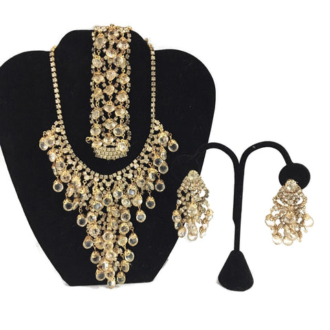 Gorgeous Juliana Crystal Run Way Necklace, Bracelet, & Earring Set