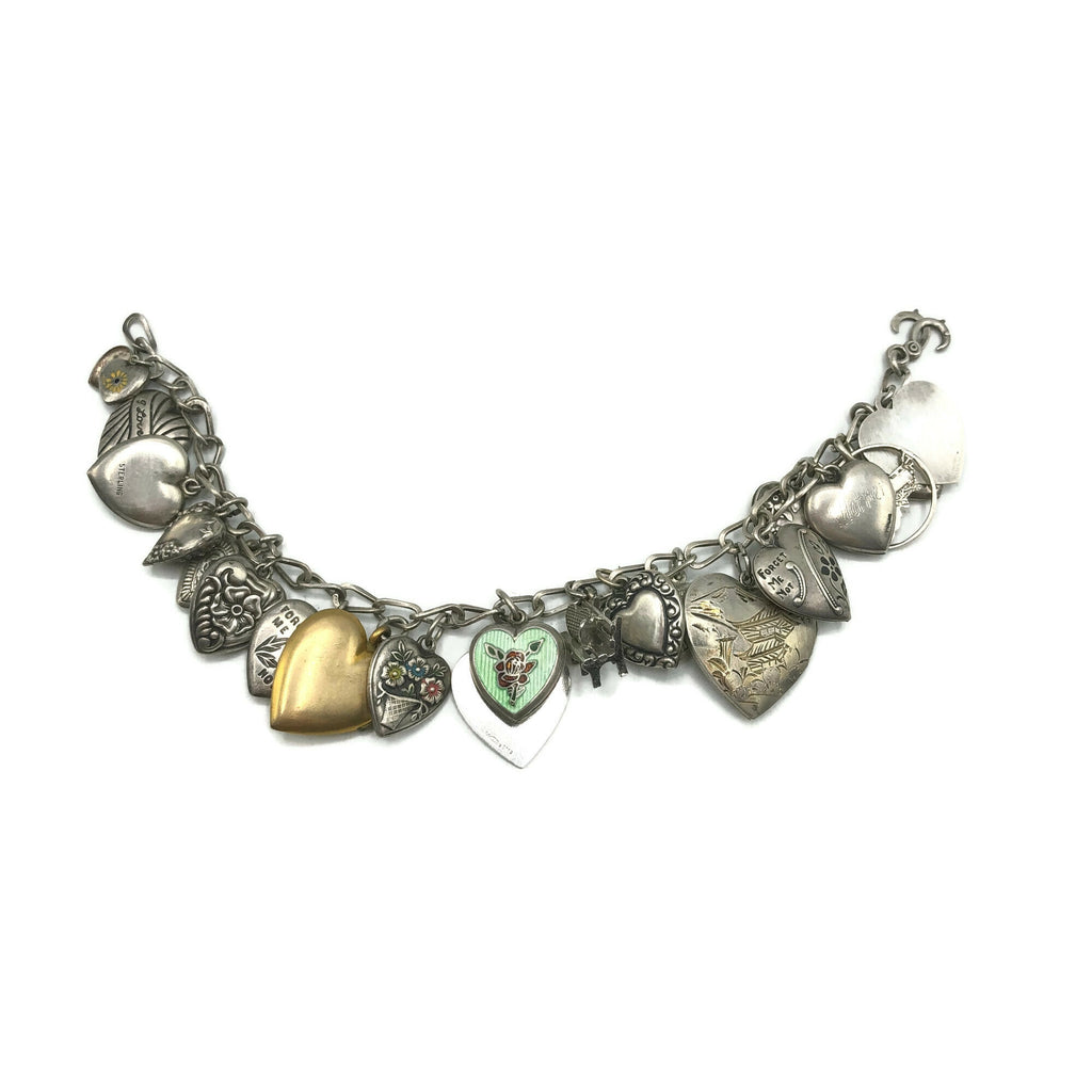 Vintage Puffy Heart Locket Charm Bracelet