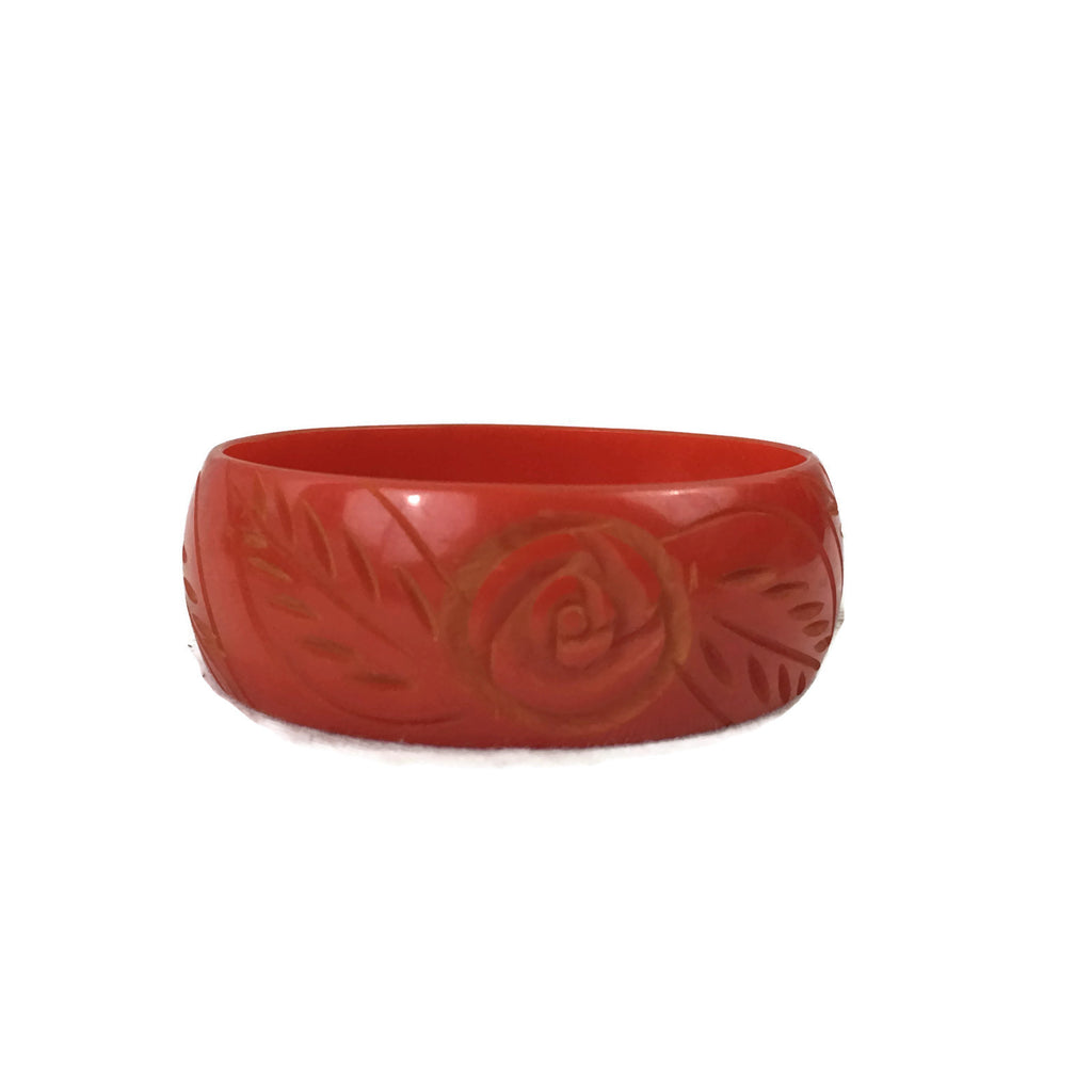 Carved Vintage Bakelite Floral Bangle Bracelet