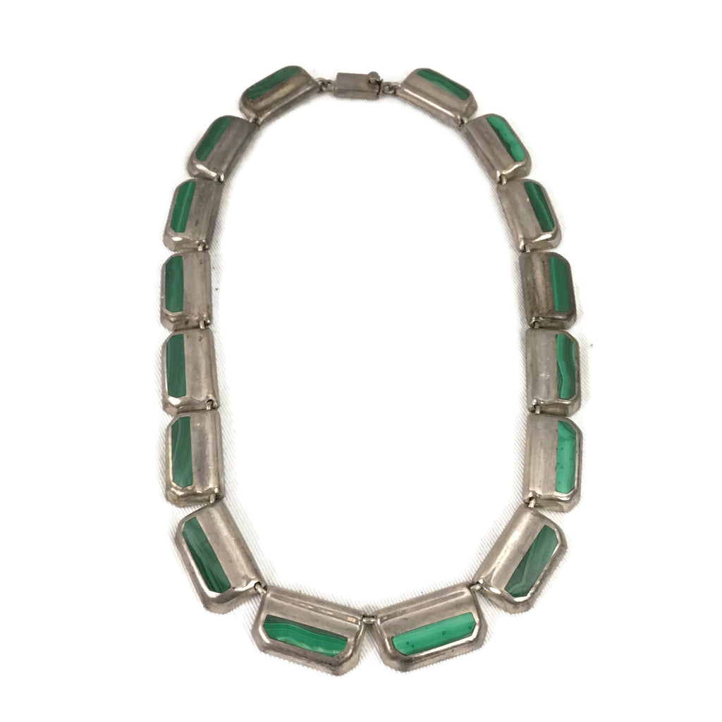 Sterling Silver Malachite Inlay Necklace