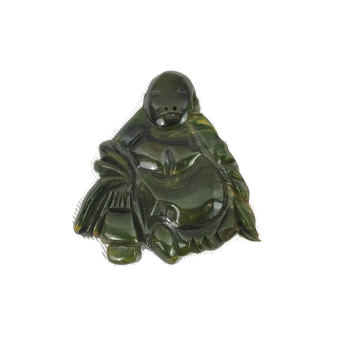 Vintage Marbled Green & Yellow Buddha / Monk Bakelite Brooch