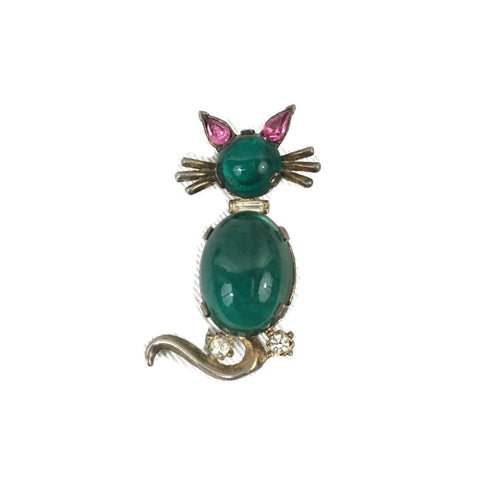 Vintage Green Jelly Belly Trifari Cat Brooch