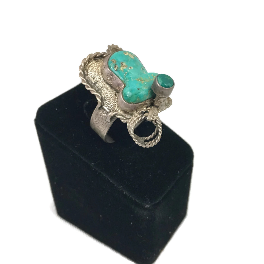 Vintage Unusual Turquoise & Silver Saddle Ring