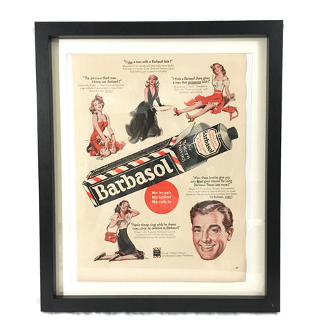 Framed Vintage Barbasol Shaving Cream Advertisement