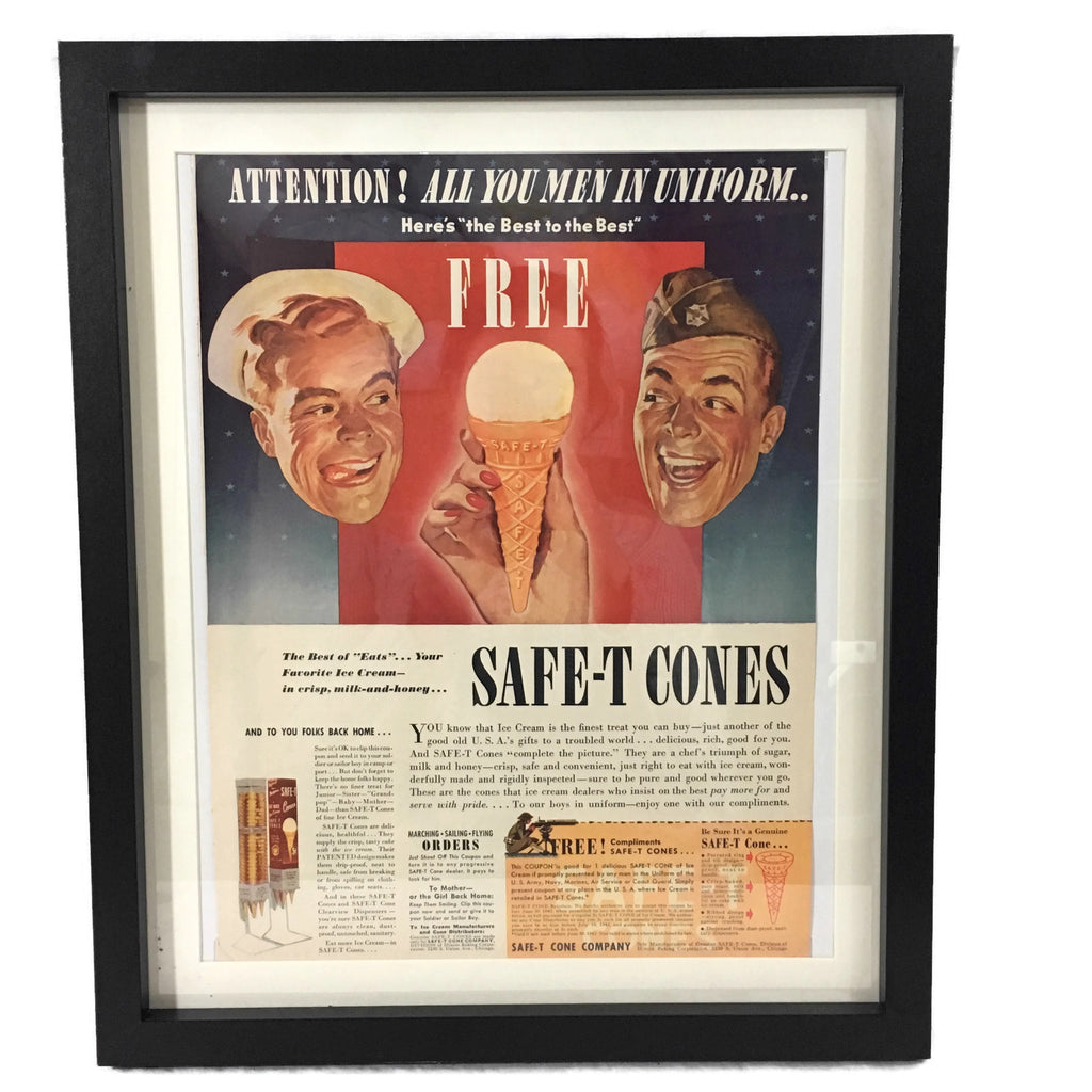 Framed Vintage Safe-T Ice Cream Cone Military Advertisement