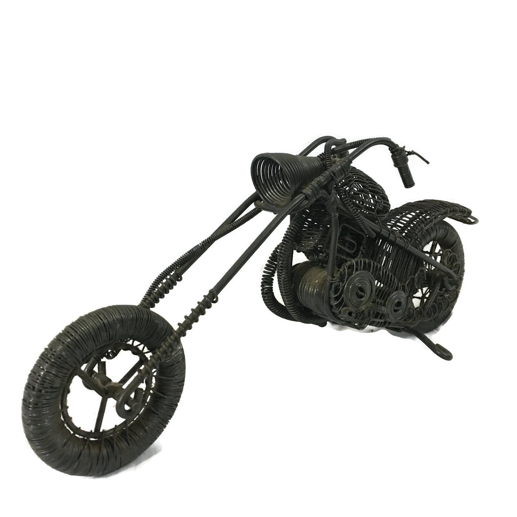 Vintage Metal Harley Motorcycle Sculpture