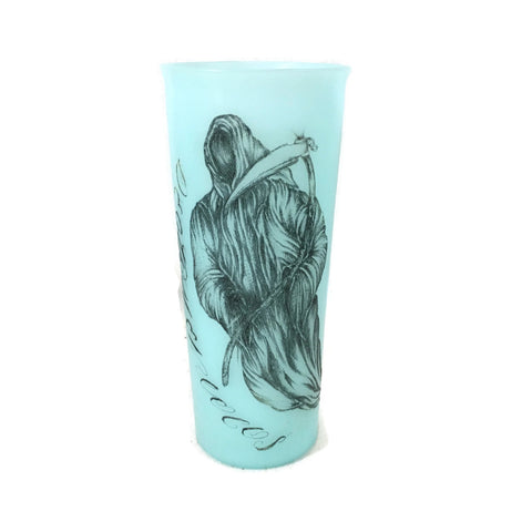 Grim Reaper Prison Art Tattoo Blue Tupperware Cup
