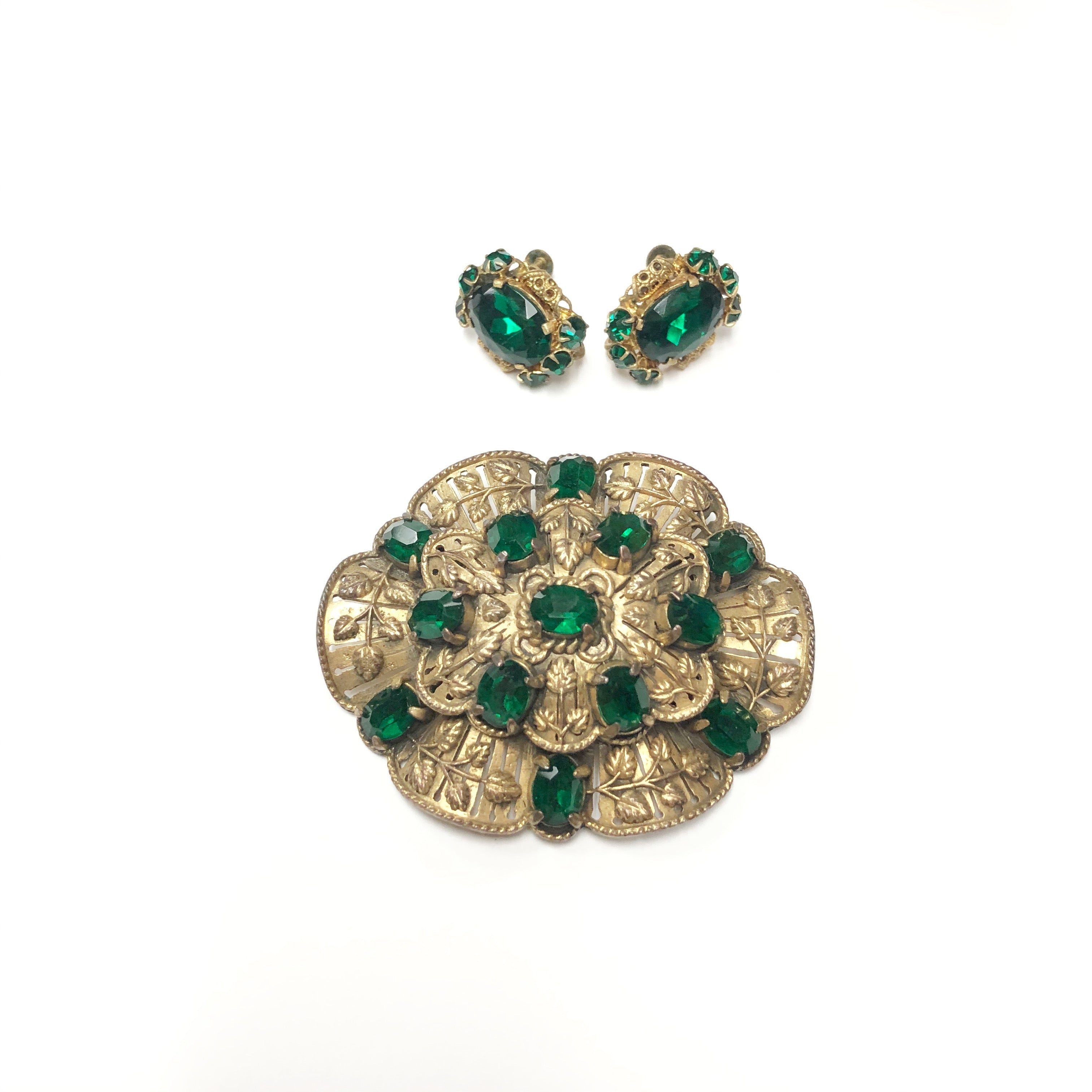 Vintage Gold and Rhinestone Brooch and Earring Set