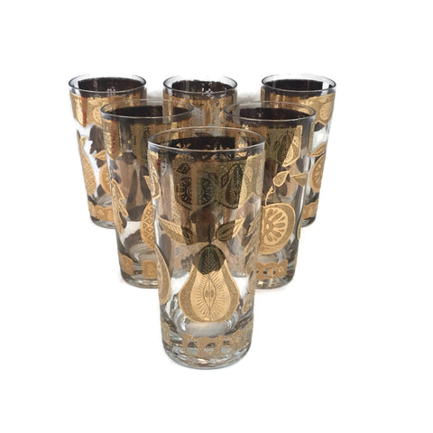 Set of 6 Vintage Culver Fruit & Pear Gold Tone High Ball Glasses
