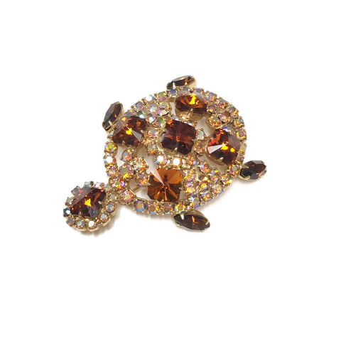 Vintage Juliana Rhinestone Turtle Brooch