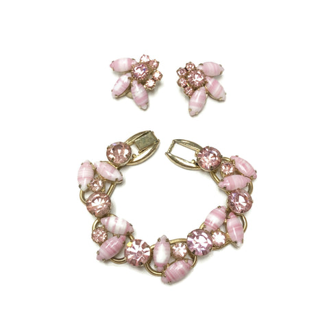Vintage Juliana Pink Rhinestone & Marbled Glass Necklace & Earring Set