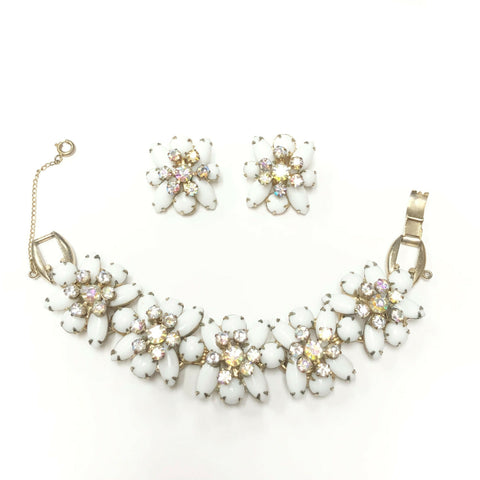 Vintage White & AB Rhinestone Juliana Bracelet & Earring Set
