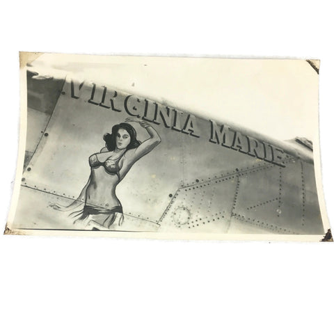 Vintage Virginia Marie Original WW2 Warplane Nose Art Photo
