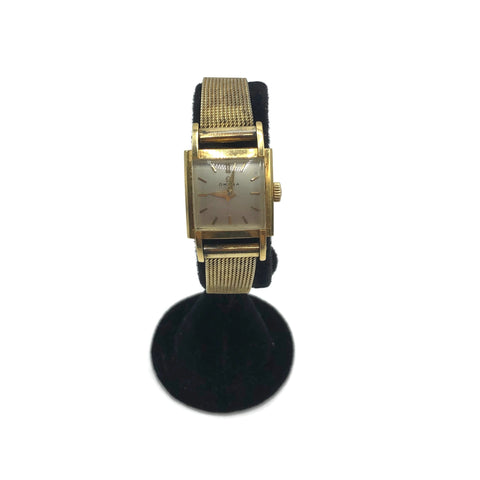 Vintage 18K Gold Omega Square Face Wristwatch