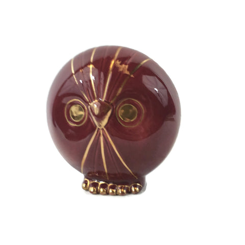 Vintage Owl With Gold Trim Ceramic Figure