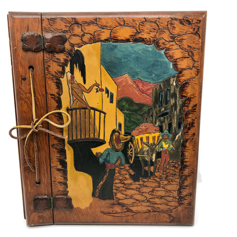 Vintage Hand Carved Wood Scrap Book