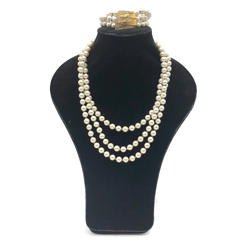 Vintage Faux Pearl Costume Jewelry Set