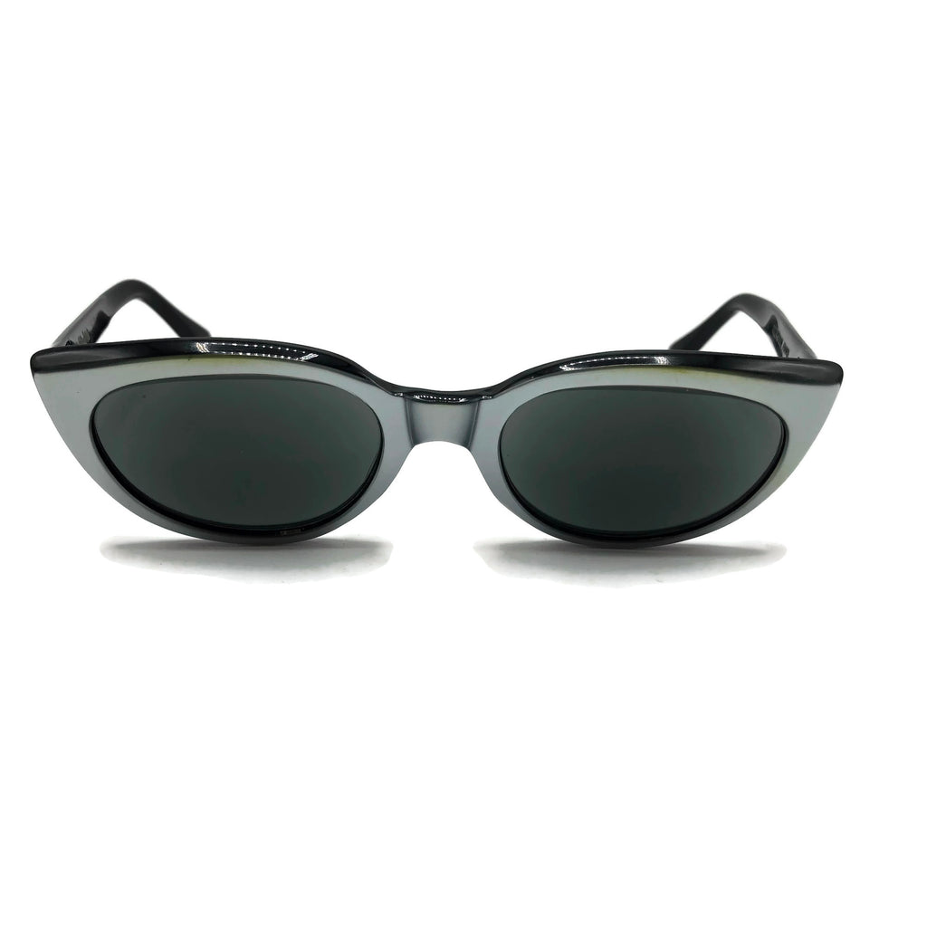 Vintage Riviera Cat Eye Black & Grey Tone Sunglasses