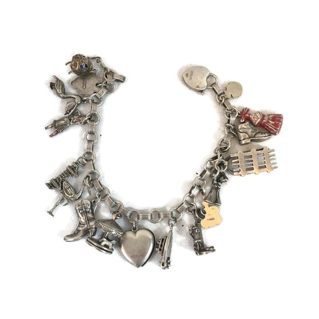 Vintage Sterling Silver Charm Bracelet with 18 Charms
