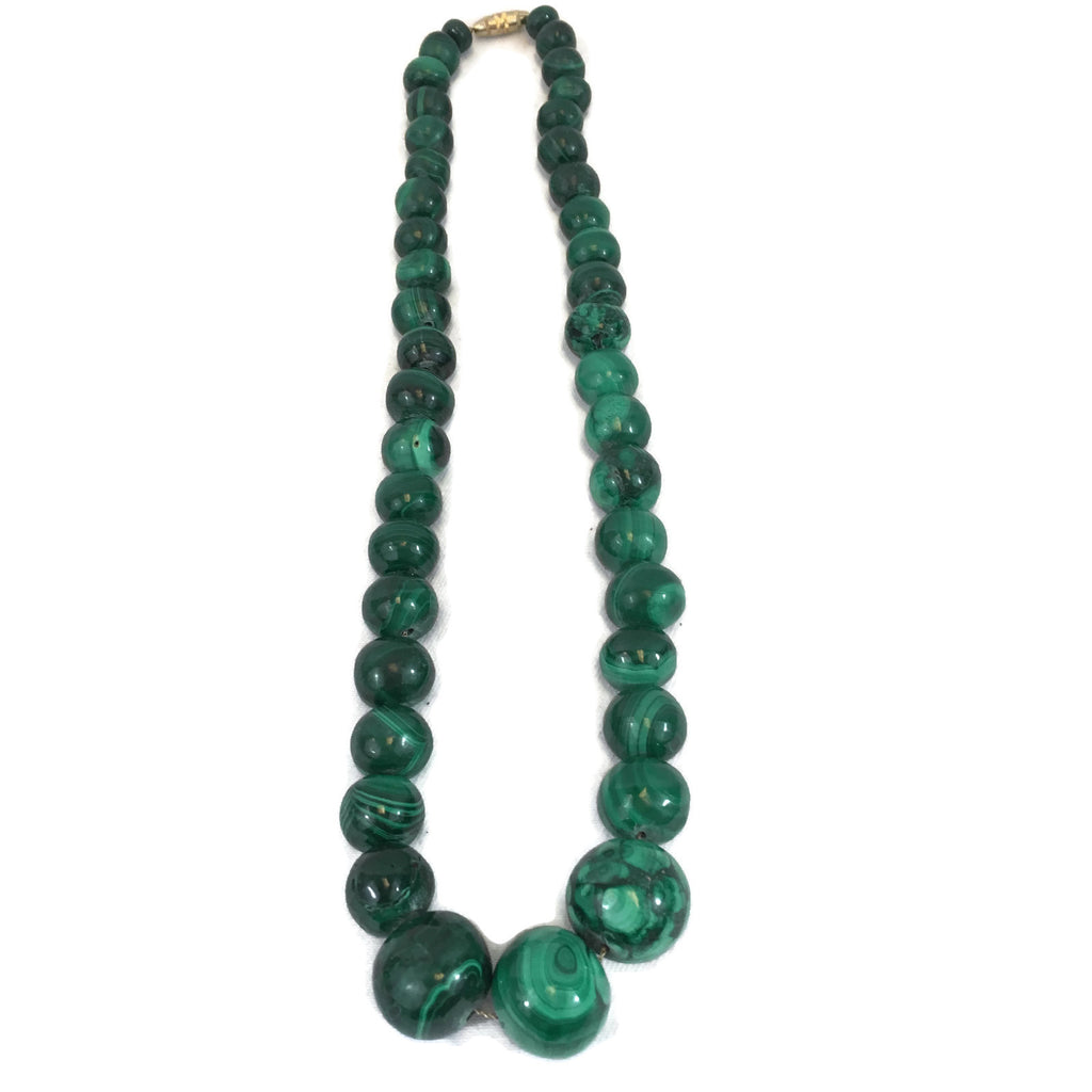 Vintage Malachite Graduated Beaded Necklace