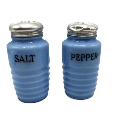 Jeanette Glass Co. Delphite Blue Salt & Pepper Shakers