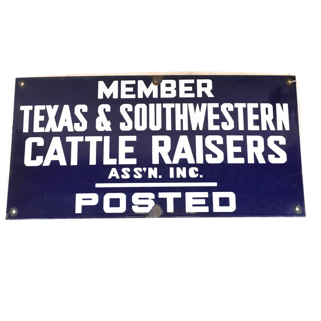 Porcelain Texas & Southwestern Cattle Raisers Association Sign