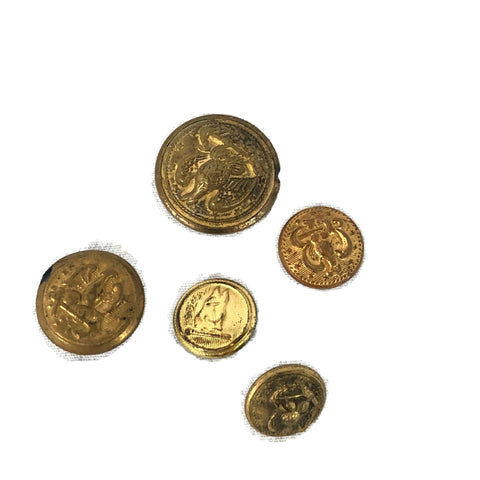 Antique Civil War Era Naval Buttons Lot of 5