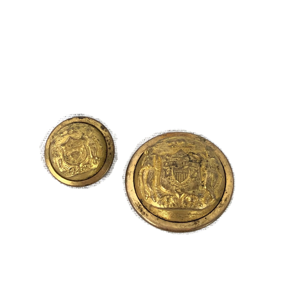 Lot of 2 Antique Civil War Wisconsin State Buttons